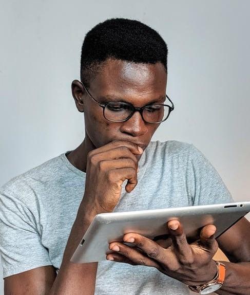man reading content